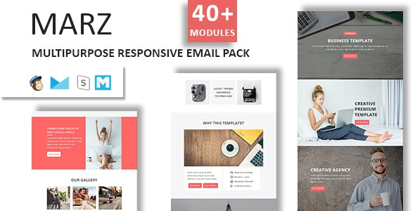 Marz - Multipurpose Responsive Email Template With StampReady Builder Access - Newsletters Email Templates