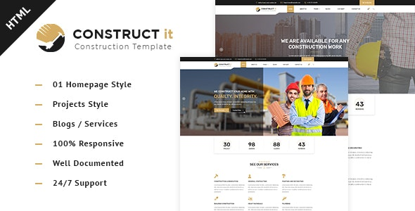 Construct It - Factory / Industrial / BuildersHtml Template - Business Corporate
