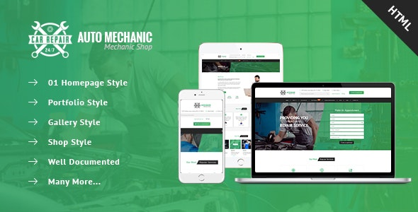 Auto Mechanic - Services & Repaires HTML Template - Business Corporate