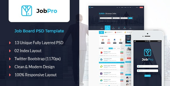 Job Pro - Job Board PSD Template - Business Corporate