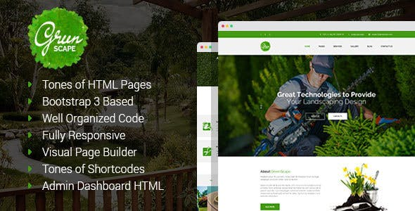 Greenscape - Lawn & Garden Landscaping HTML template with Visual Page Builder and Dashboard Frontend