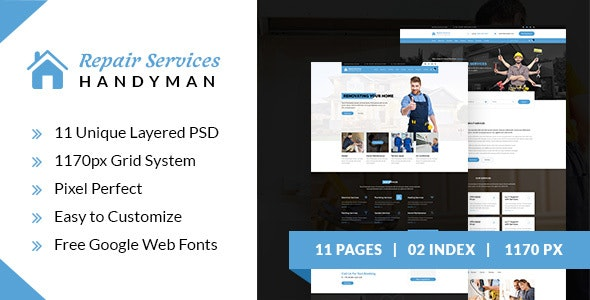 Repair Services - Handyman PSD Template - Corporate Photoshop