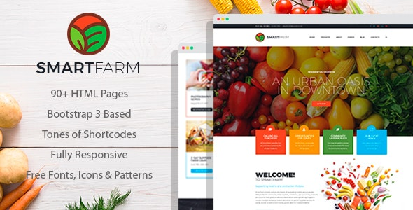 SmartFarm - Eco and Organic Gardening HTML template with Page Builder - Food Retail