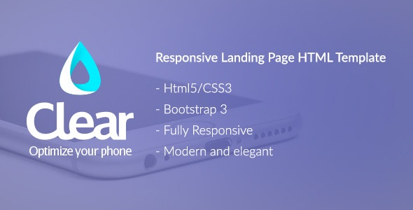 Clear - Bootstrap Landing Page HTML Template - Site Templates
