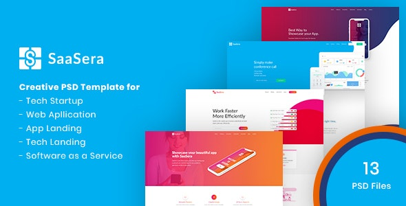 SaaSera - Startup/ Web Application/ Software as a Service PSD Template - Software Technology