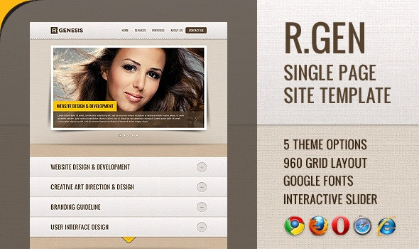 R.Gen - Single Page Site Template - Creative Site Templates
