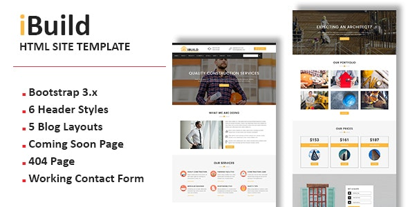 iBuild - Multipurpose Responsive HTML Site Template - Corporate Site Templates