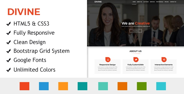 Divine - One Page HTML Responsive Template - Creative Landing Pages