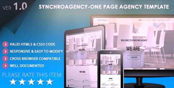 SynchroAgency-One Page Agency & Portfolio Template - Business Corporate