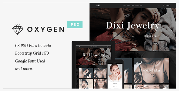 Oxygen Jewelry Ecommerce - PSD Template - Health & Beauty Retail