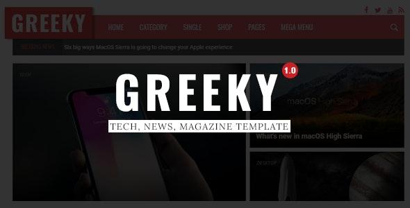 Greeky - Technology News, Magazine HTML Template - Technology Site Templates