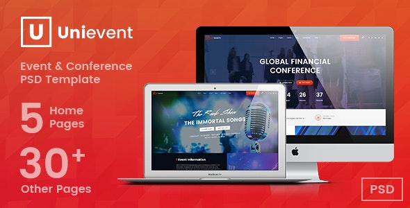UniEvent | Event & Conference PSD Template - Events Entertainment