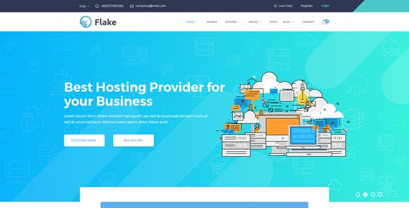 Flake Domain Hosting and Technology PSD Template