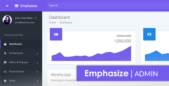 Emphasize Bootstrap Admin Dashboard Template and UI - Admin Templates Site Templates