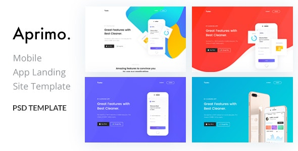 Aprimo-Mobile App Landing Page PSD Template - Marketing Corporate