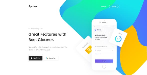 Aprimo-Mobile App Landing Page PSD Template
