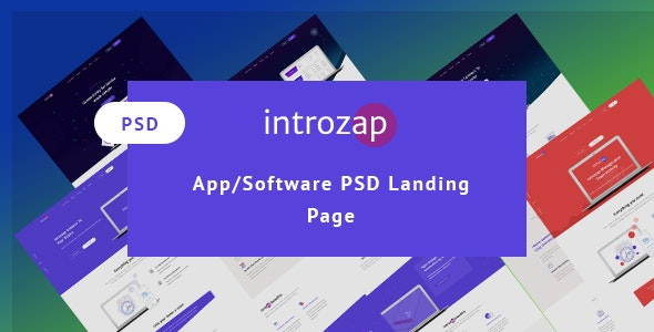 introzap - Software & Apps  PSD Landing Page - Corporate Photoshop