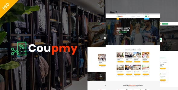 Coupmy-Coupons, Affiliates, Offers, Deals, Discounts & Marketplace PSD Template - Retail Photoshop
