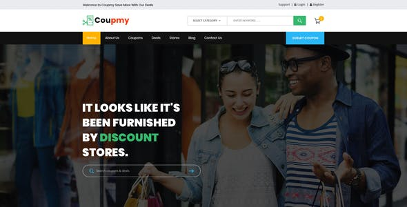 Coupmy-Coupons, Affiliates, Offers, Deals, Discounts & Marketplace PSD Template