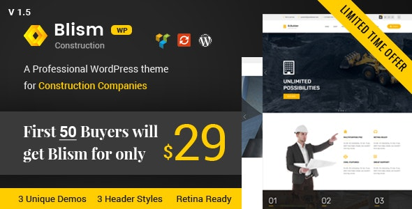 Blism – Construction WordPress Theme - Business Corporate