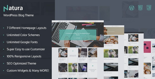 Natura - Responsive WordPress Blog Theme - Personal Blog / Magazine