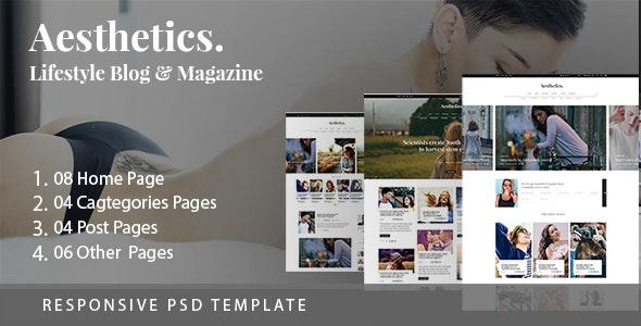 Aesthetics. Lifestyle Blog & Magazine PSD Template - Fashion Retail