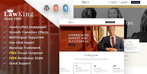 Lawking - Lawyer and Attorney Responsive WordPress Theme - Business Corporate