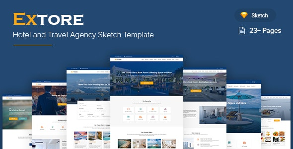 Extore - Hotel & Travel Agency Sketch Template - Sketch UI Templates