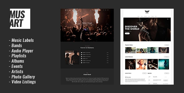 Musart - Music Label and Artists WordPress Theme - Music and Bands Entertainment