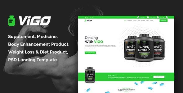 VIGO-Health Supplement Landing Page PSD Template - Health & Beauty Retail
