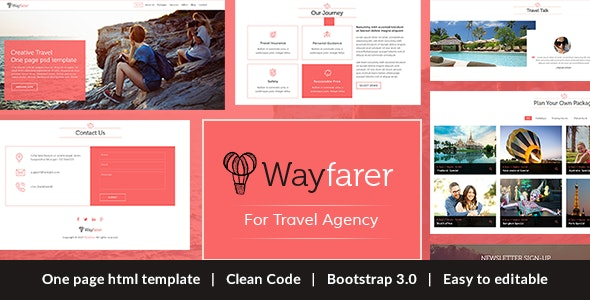 Wayfarer Onepage Travel HTML Template - Travel Retail