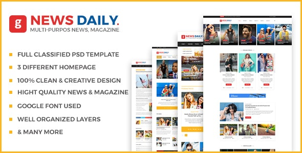 News Daily - Multipurpose Blog PSD Template - Photoshop UI Templates