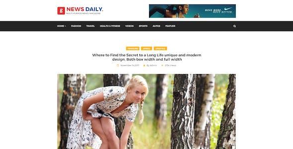 News Daily - Multipurpose Blog PSD Template