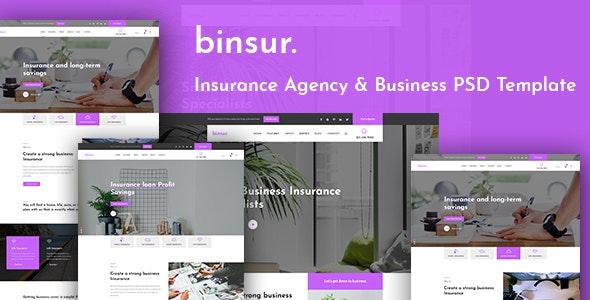 Binsure Insurance/Agency PSD Template - Business Corporate