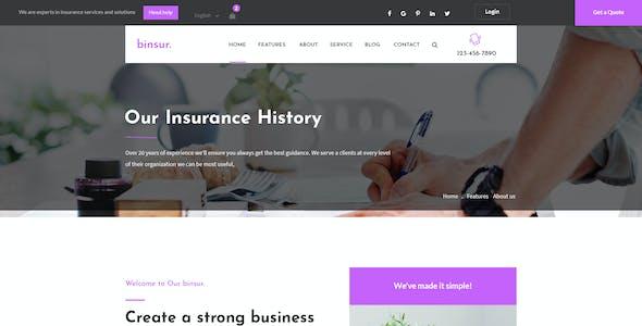 Binsure Insurance/Agency PSD Template