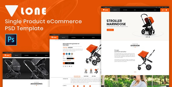 Lone – Single Product eCommerce PSD Template - Children Retail