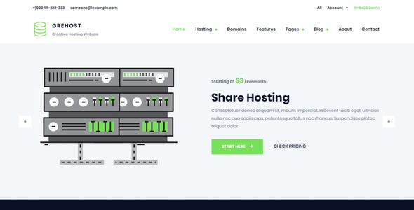 GREHOST - WHMCS & HTML Responsive Web Hosting Template (RTL Included)