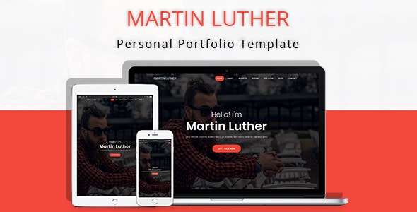 Martin Luther - Personal Portfolio Template - Personal Site Templates