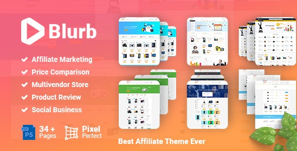 Blurb - Price Comparison, Affiliate Website, Multi vendor Store and Product Review PSD Template - Photoshop UI Templates