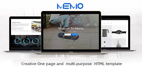 memo - Creative One page and  multi purpose  HTML template