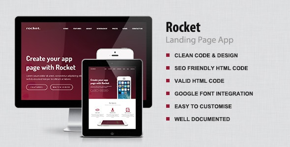 Rocket - App Landing page - Technology Site Templates