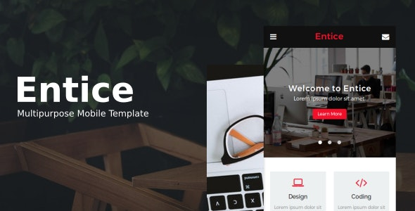 Entice - Multipurpose Mobile Template - Mobile Site Templates