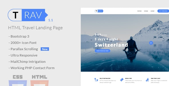 Trav | Travel HTML Landing Page - Travel Retail