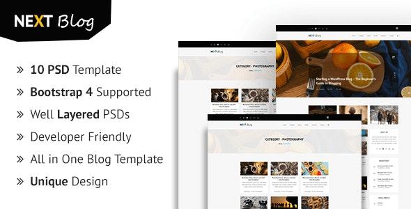 Nextblog - Personal Blog PSD Template - Creative Photoshop