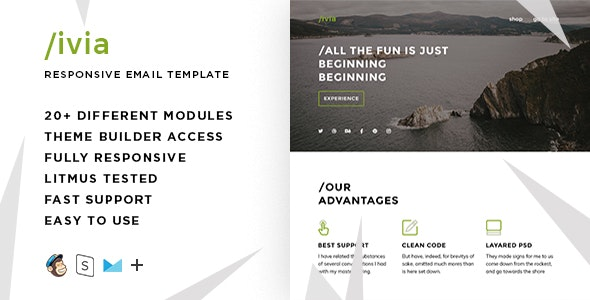 Livia  – Responsive HTML Email + StampReady, MailChimp & CampaignMonitor compatible files - Email Templates Marketing