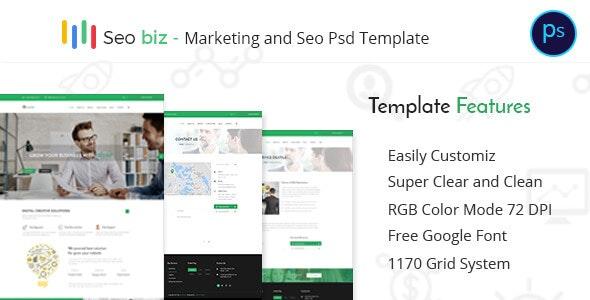 Seobiz– Marketing and SEO PSD Template - Photoshop UI Templates