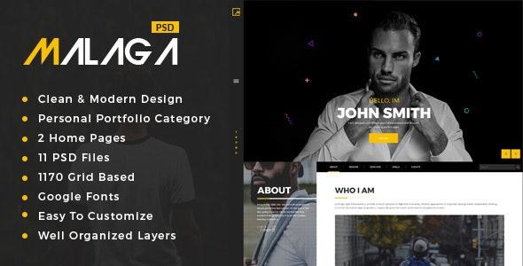Malaga : Personal Portfolio PSD Template - Portfolio Creative