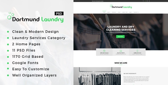 Dortmund : Laundry Services PSD Template - Business Corporate