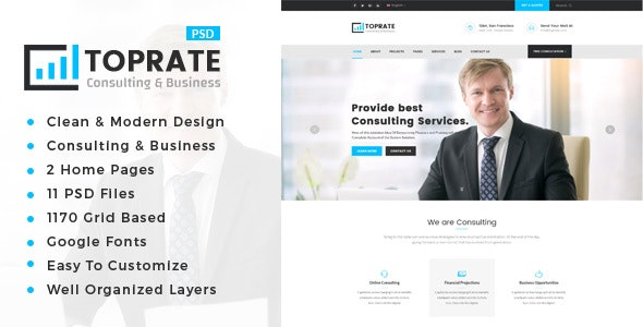 TopRate : Consulting Business PSD Template - Business Corporate