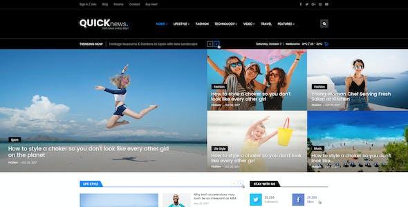 Quicknews - Blog, Magazine & News PSD Template